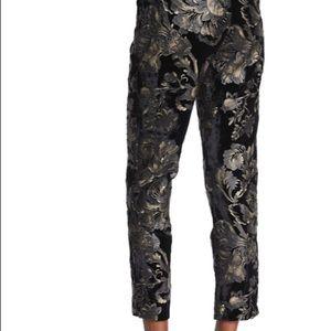 A.L.C. Black floral- velvet Ankle Pants
